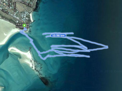 Surf sailing session GPS track on satellite map