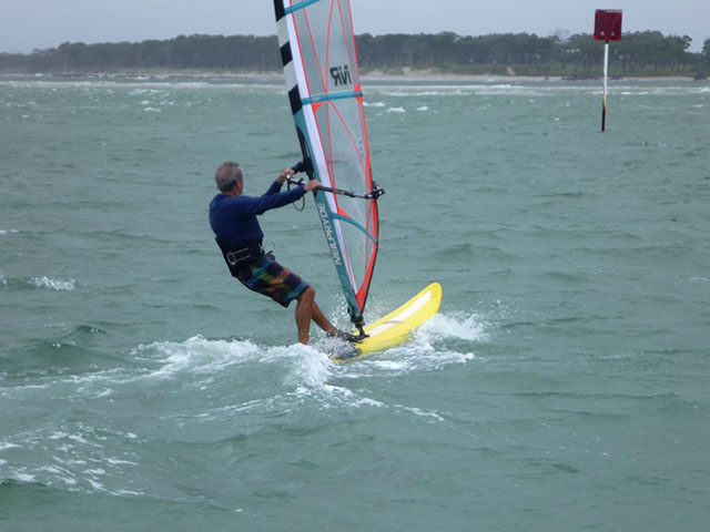 Ian resorts to windsurfing for a change